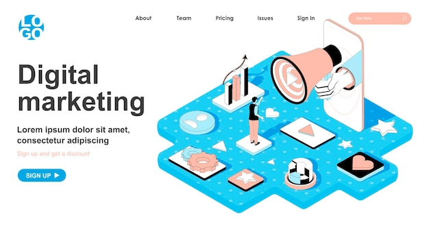 Digital marketing isometric concept in 3d design for landing page