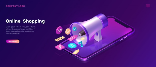 Digital marketing isometric concept with megaphone