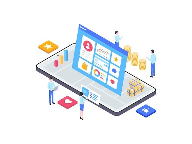 디지털 마케팅 아이소메트릭 그림입니다. 모바일 앱, 웹사이트, 배너, 다이어그램, 인포그래픽 및 기타 그래픽 자산에 적합합니다.