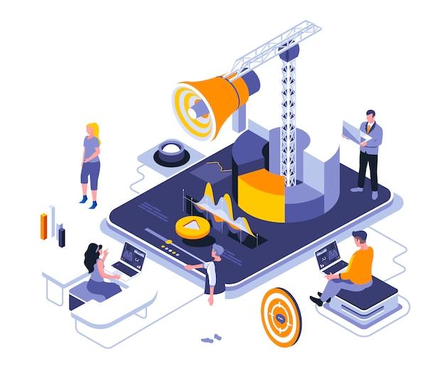 Digital marketing isometric    illustration template