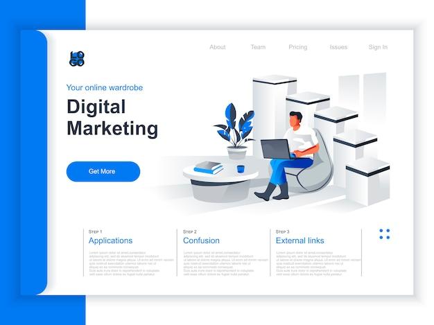 デジタルマーケティング等尺性ランディングページ。マーケティング担当者がオフィスの状況でラップトップを操作します。デジタルマーケティング、smmとseo、ウェブサイトのコンテンツプロモーション、ソーシャルメディアがパースペクティブフラットデザインを管理します。
