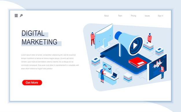 Digital marketing isometric landing page template.