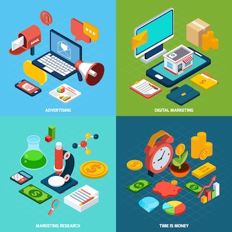 Digital marketing isometric