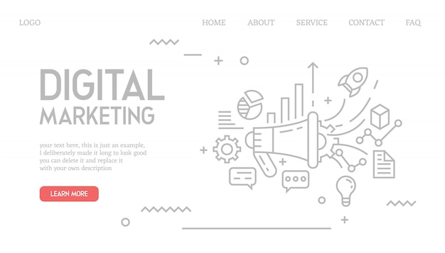 Digital marketing landing page in doodle style