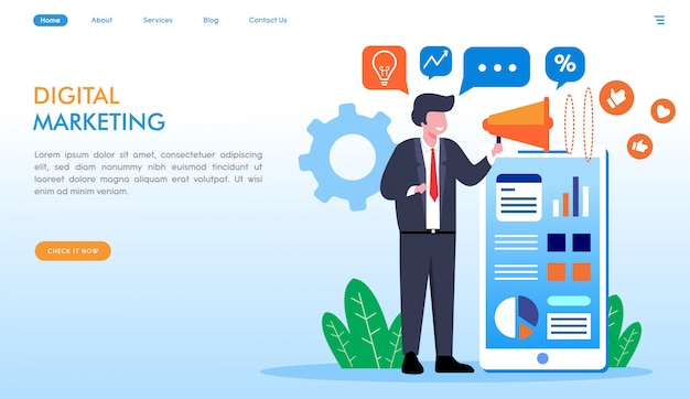 Digital marketing landing page in flat style