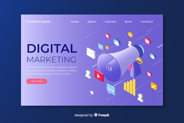 Digital marketing landing page in isometric design