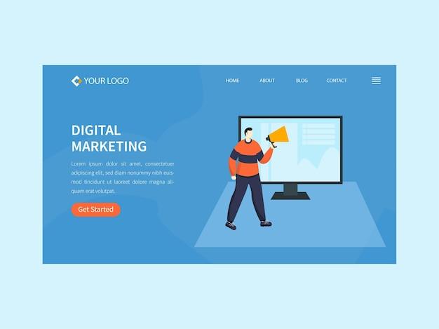 Целевая страница цифрового маркетинга или дизайн баннера героя в синем цвете.
