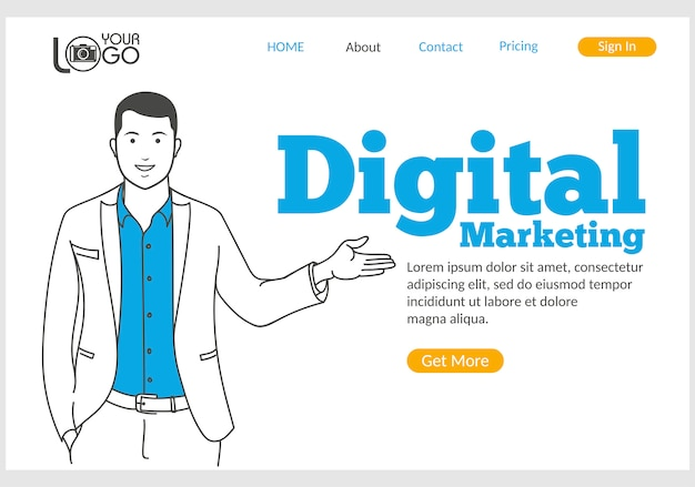 Digital marketing landing page in thin line style.