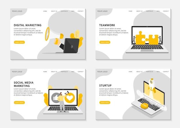 デジタルマーケティングのランディングページ。デジタルマーケティング、ソーシャルメディアマーケティング、チームワーク、スタートアップビジネスのためのウェブページテンプレートのセット。 。