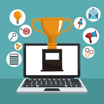 Digital marketing laptop trophy icons