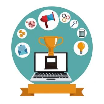 Digital marketing laptop trophy media