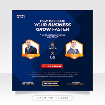 デジタルマーケティングのライブウェビナーとビジネスソーシャルメディアの投稿テンプレート