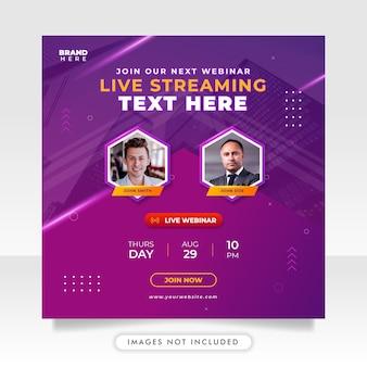 Digital marketing live webinar and business social media post template