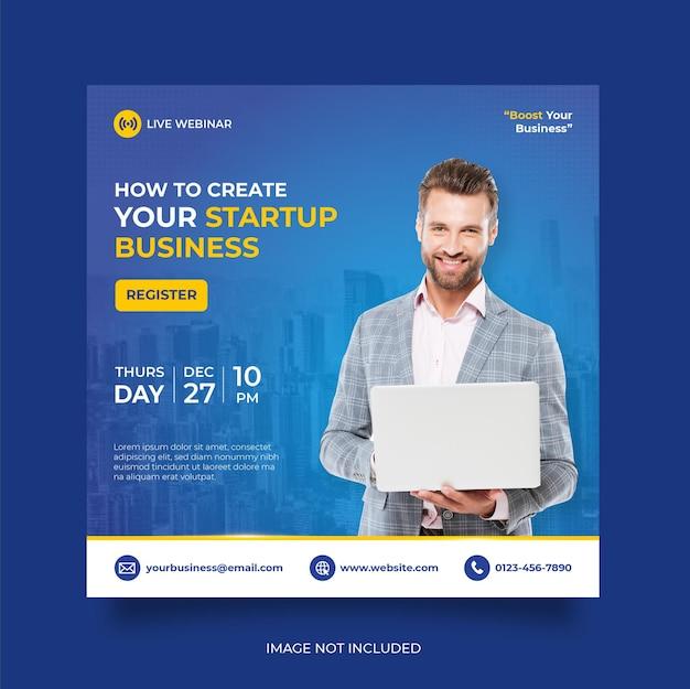 Digital marketing live webinar and corporate social media post template