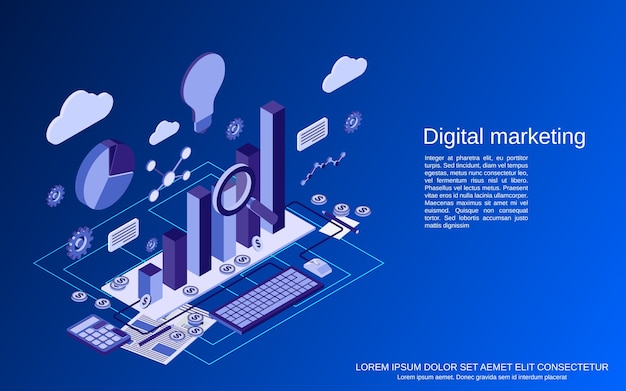 Цифровой маркетинг, плоская изометрическая концепция управления