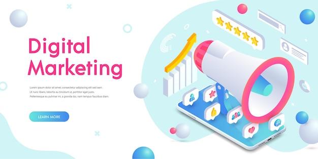 디지털 마케팅 모바일 소셜 미디어 트렌디한 아이소메트릭 배너에는 3d 앱 아이콘, 스마트폰 화면의 확성기 및 텍스트가 있습니다. 배너, 웹, 모바일 앱, 인포 그래픽에 대한 비즈니스 분석 벡터 개념