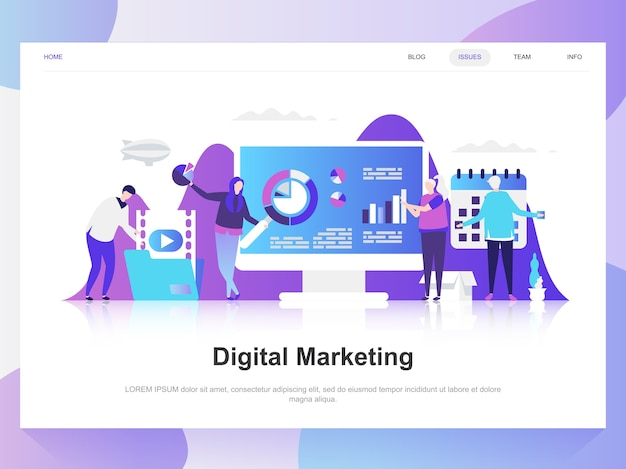 Digital marketing modern flat design concept.