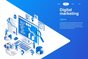 Digital marketing modern flat design isometric concept.