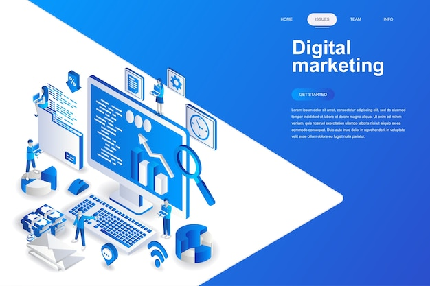 Digital marketing modern flat design isometric concept.