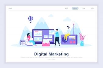 Digital marketing modern flat landing page