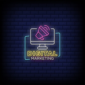 Digital marketing neon signs style text