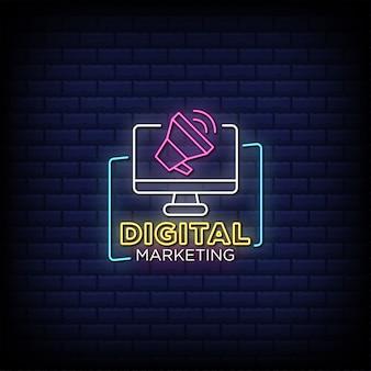 Цифровой маркетинг неоновые вывески стиль текста