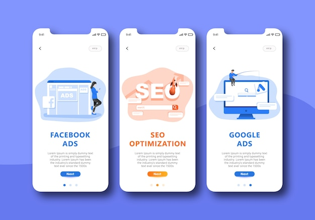 Digital marketing onboarding screen mobile ui