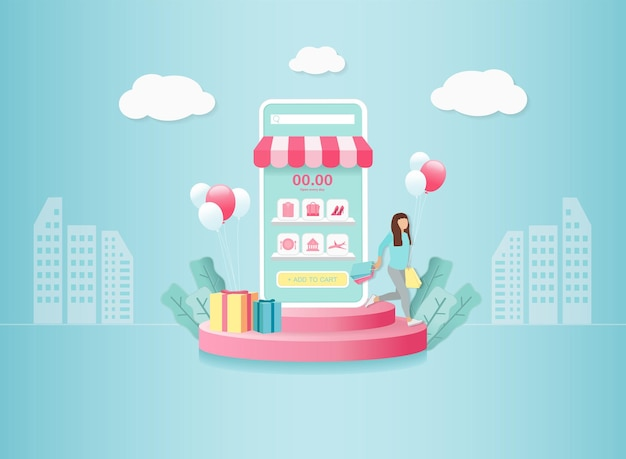 Digital marketing online on mobile application. woman carry shopping bag with gift box on round podium. sky background