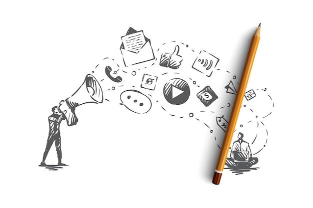 デジタル、マーケティング、オンライン、ウェブサイト、メディアのコンセプト。マーケティングサービスの概念スケッチの手描きアイコン。図。