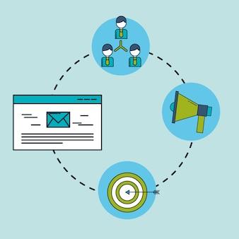 Digital marketing organization email target megaphone