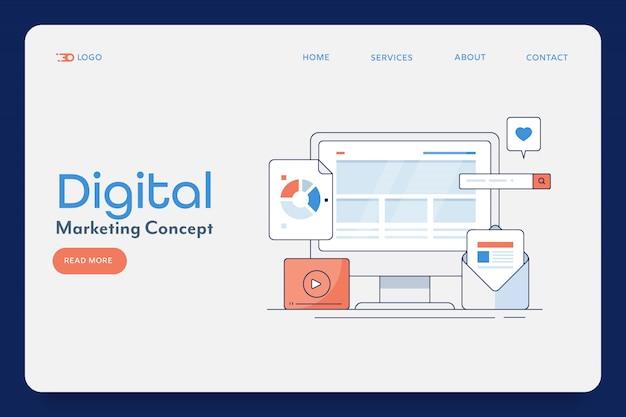 Цифровой маркетинг наброски баннер