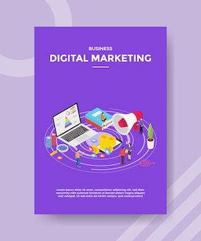 Digital marketing people promotion business on internet laptop for template of  flyer