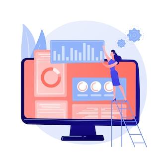 디지털 마케팅 계획. smm 비즈니스, 온라인 분석 인터페이스, 디스플레이 광고. 브랜드 평가에 대한 통계 데이터를 연구하는 분석가.