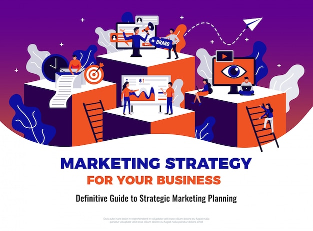Digital marketing poster with guide and planning symbols flat
