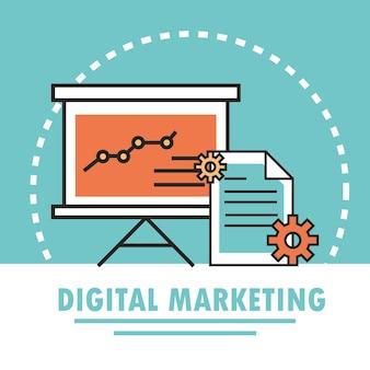 デジタルマーケティングプレゼンテーションビジネスチャートとコンテンツイラストラインと塗りつぶし