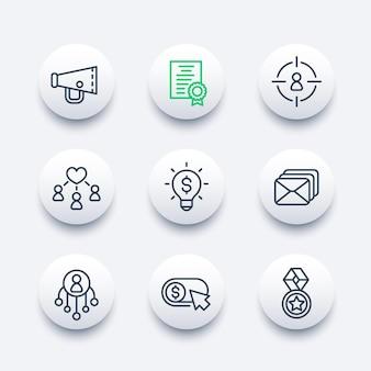Digital marketing, promoting line icons set