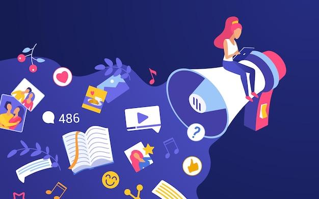 디지털 마케팅 프로모션 캠페인. 홍보 확성기에 앉아 청중을 위해 콘텐츠를 공유하는 만화 작은 영향력있는 블로거 여자