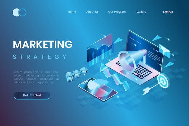 Digital marketing and promotion concepts, start-up development, marketing data analysis in isometric 3d illustration style