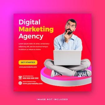 3d形状のwebバナーテンプレートを使用したデジタルマーケティングプロモーションソーシャルメディア投稿