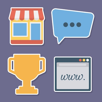 Digital marketing related icons