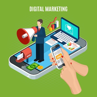 Digital marketing service isometric with smartphone laptop and person with loudspeaker on green