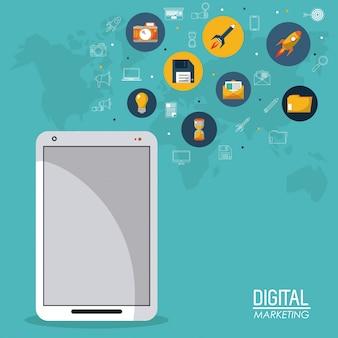 Digital marketing smartphone mobile business network