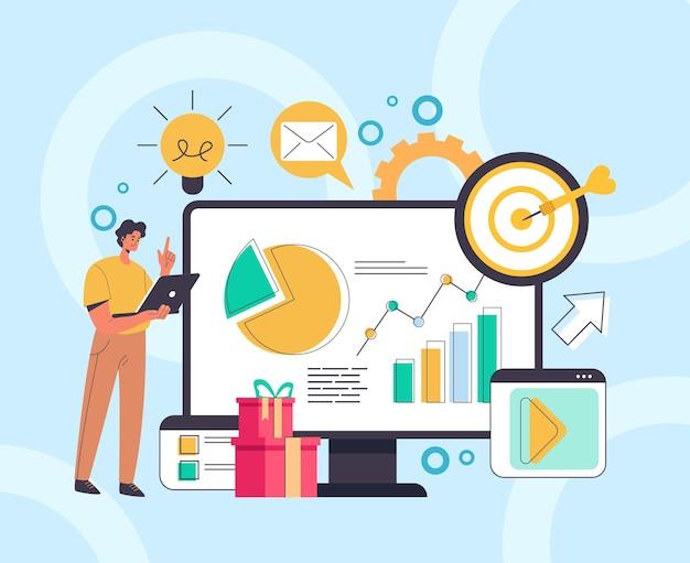 인포 그래픽 개념을 분석하는 디지털 마케팅 소셜 미디어.