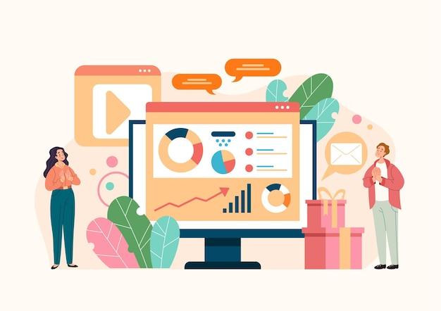 인포 그래픽 개념을 분석하는 디지털 마케팅 소셜 미디어