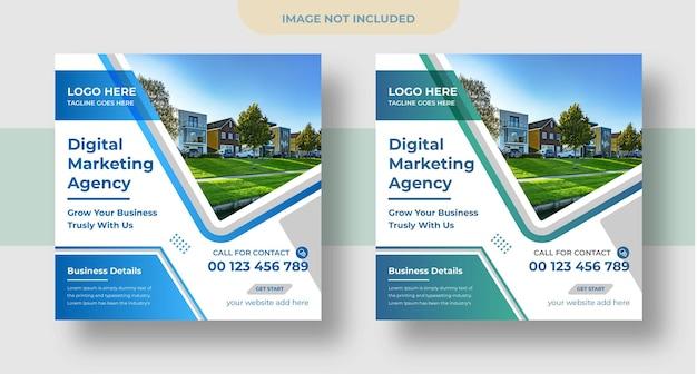 デジタルマーケティングソーシャルメディアとinstagramの投稿とウェブバナーのデザイン
