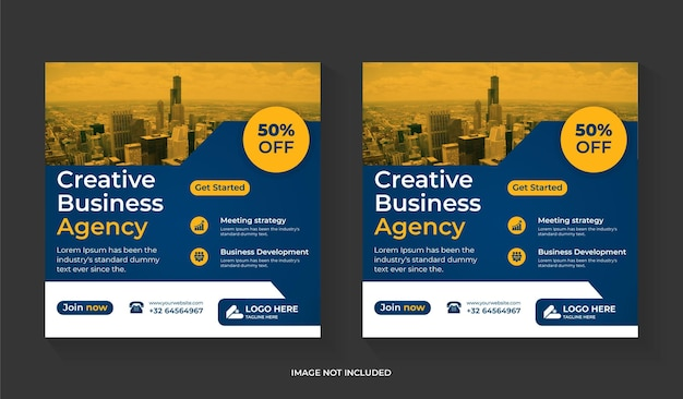 Digital marketing social media post design with business promotion and corporate square flyer editable template