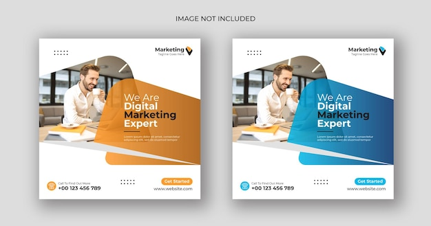 デジタルマーケティングソーシャルメディア投稿正方形バナーテンプレート