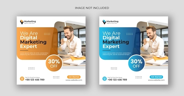 Digital marketing social media post square banner template
