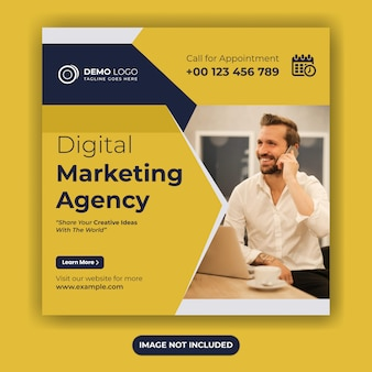 Digital marketing social media post template or square flyer design