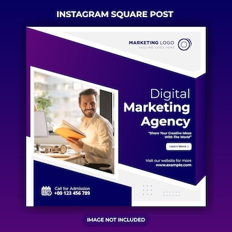 Digital marketing social media post template or square flyer
